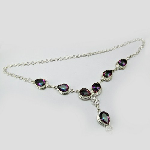 Exotic Mystic Topaz 925 Sterling Silver Necklace, Designer Pieces Silver Jewelry, 925 Silver Jewelry