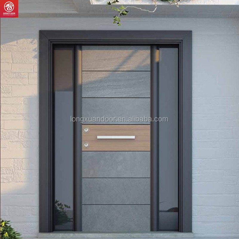 Modern steel security door design for main entrance single for Main entrance door design