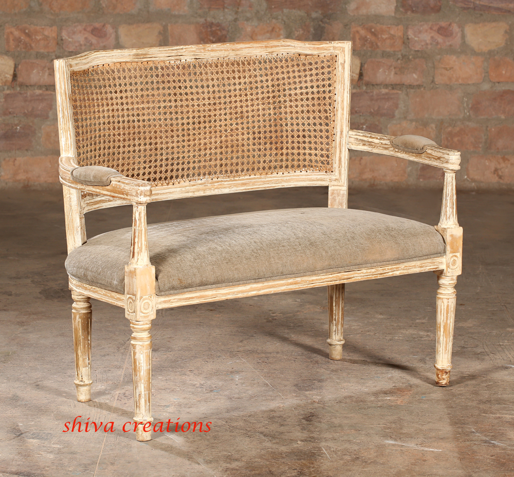 French Country Vintage Antique Cane Back Settee Sofa