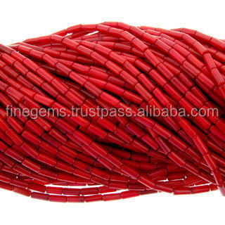 Natural Red Coral tube beads