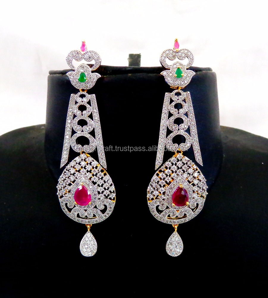 American Diamond Earring Whole Party Wear Cz Cubic Zirconia Hanging Earrings Gold Jhumka