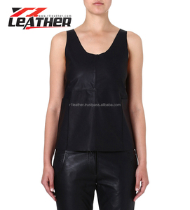 Fashion Lady Tunic with neck in leather/Tank Tops