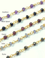 Gold Plated Sterling Silver Semi Precious Stone Bead Rosary Chain