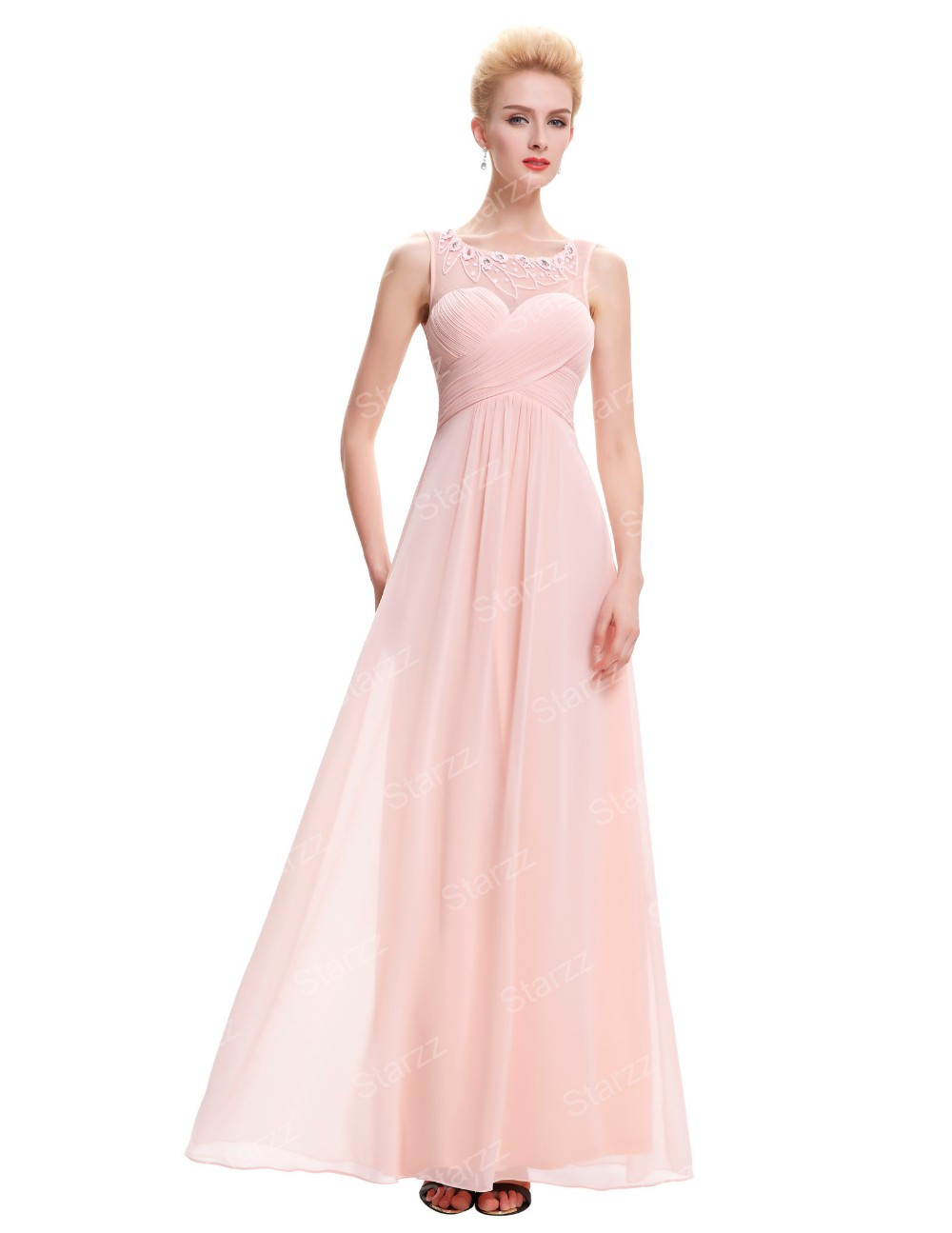 Starzz sleeveless light pink chiffon long bridesmaid dress starzz sleeveless light pink chiffon long bridesmaid dress st000060 3 ombrellifo Images