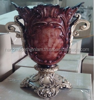 COV016 Composite vase in the form of leaf with classic style for home decoration, Vietnamese handmade ceramic planter pot