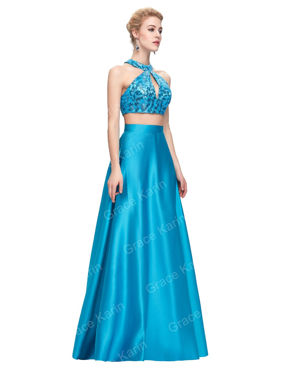 Grace Karin 2 Pieces Deep Sky Blue Sequined Satin Formal Ball Gown ...