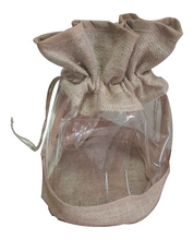 Jute Pouch with Clear PVC window,Jute Gift Bag 2016