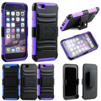Hybrid Armor Shell Holster Combo Belt Clip Kickstand Case Cover For iPhone 6 4.7