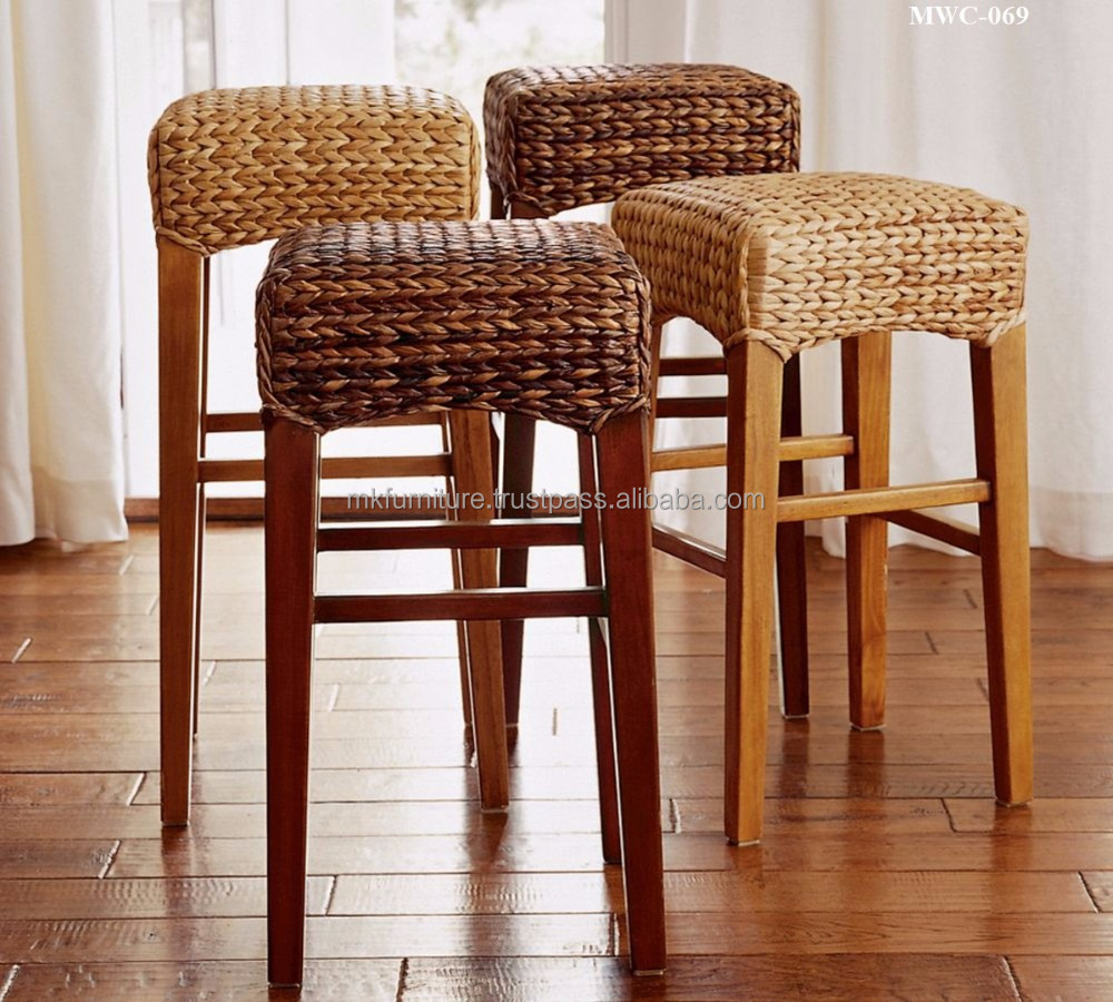 Indoor Interior Wicker Rattan Furniture Dining Set Bar Stool Hand Woven By Wicker Hyacinth Wooden Frame Buy Wicker Furniture Dining