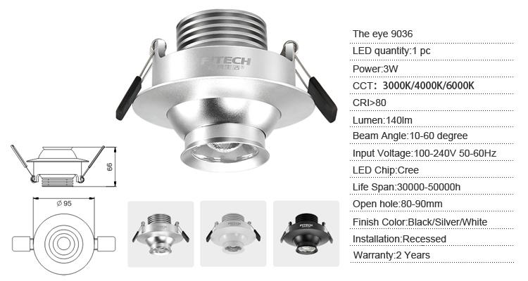 3w Eyeball Adjustable Retrofit Led Recessed Light With Xpg Led For ...