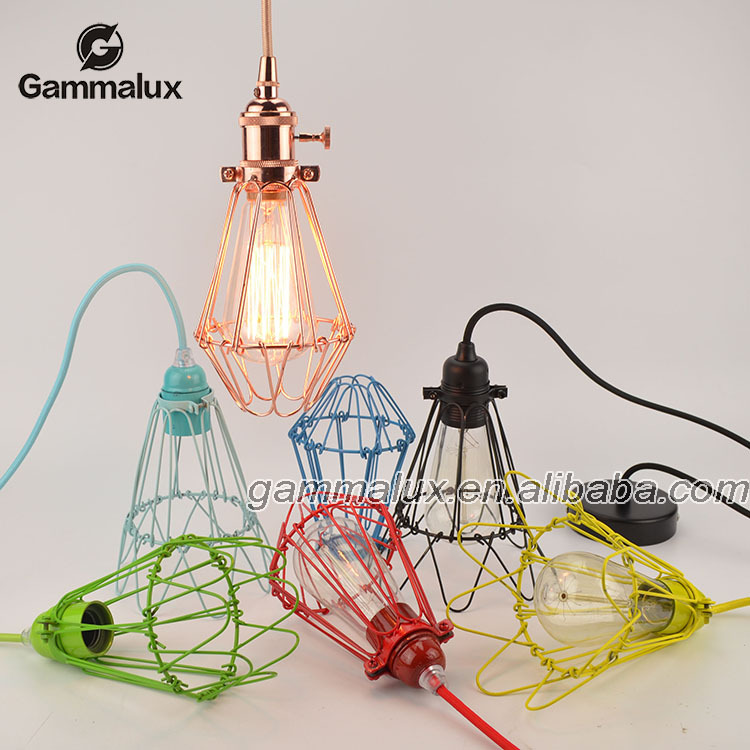 Creative Industrial Green Iron Cage Pendant Lamp With Vintage Hanging Wire