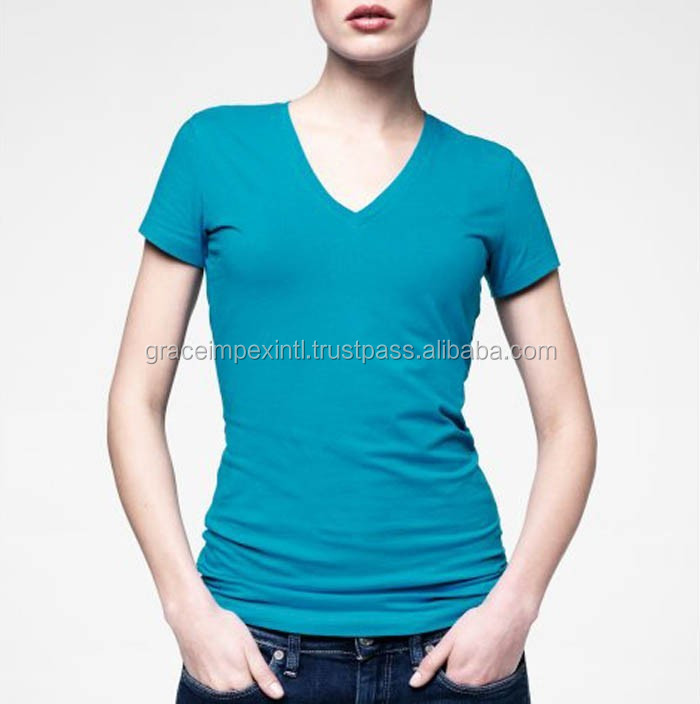 Deep V Neck T Shirts For women With High Quality - OEM v neck t shirts - Wholesale women V Neck Short Sleeves bamboo t shirts