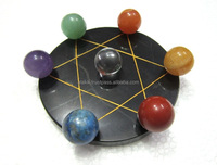 Pentagram Grid Disc with Chakra ball Set : Exclusive Hand Crafted Chakra Sets
