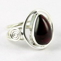 Big Pear Shape Natural Stone Garnet Fine Pure Solid Silver Cheap Ring, 925 Sterling Silver Gemstones Jewellery
