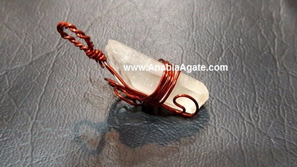 Rose Quartz Silver Wire Wrapped Pencil Pendant