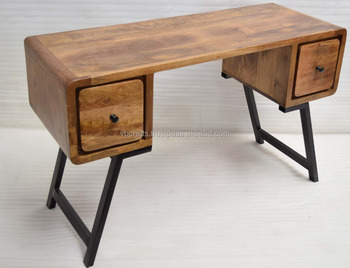 Art Deco Solid Wooden Desk With Wrought Iron Leg