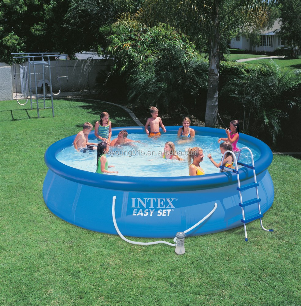 intex easy set round inflatable swimming pool for family kids fun swimming pool quick