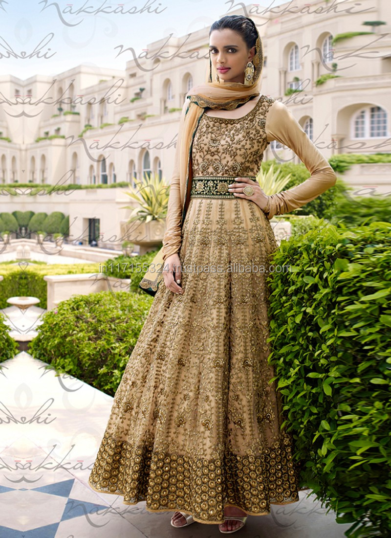 51d4b61bd Anarkali umbrella frocks salwar kameez - Indian women clothing - Bhagalpuri  embroidery work wedding anarkali lehenga