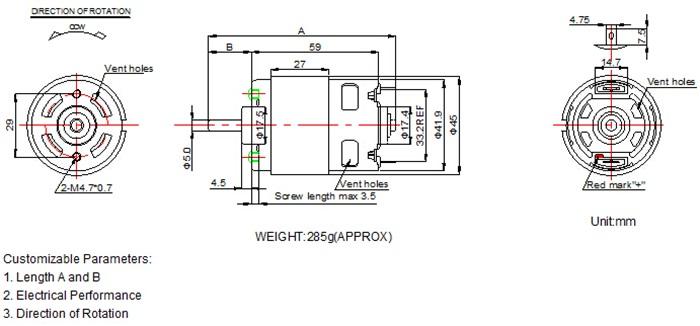 Motor Manufacturer 24v Brush Dc Motor Rs750 Rs755