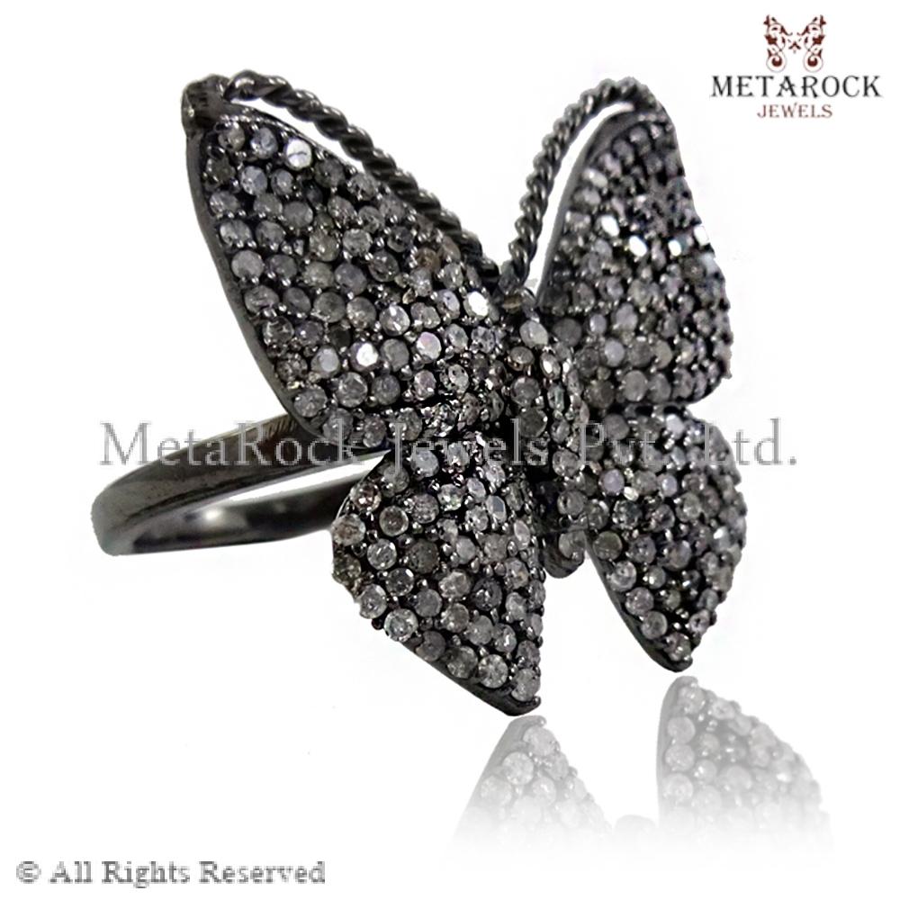 Black Diamond Band Ring Design For Girls, Sterling Silver Band ...