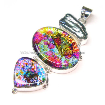 Dichroic Glass Pendant 925 Silver Jewelry Wholesale