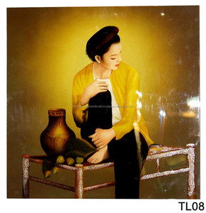 Vietnamese long dress beside rattan basket at nigh unique picture lacquer  painting, special gift for Christ 2015