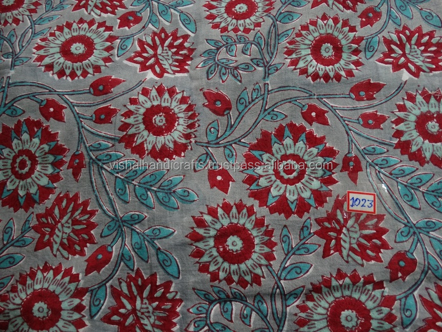 Designer sanganeri hand block print fabric indian floral for Fabric printing