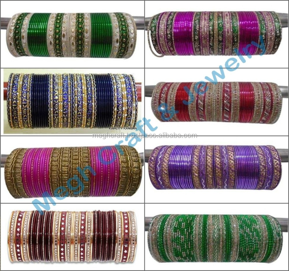 Indian Wedding bangles - Metal chura bangles set - Bollywood style Bridal Bangle - Churi Set-Indian Wedding Kangan 2016