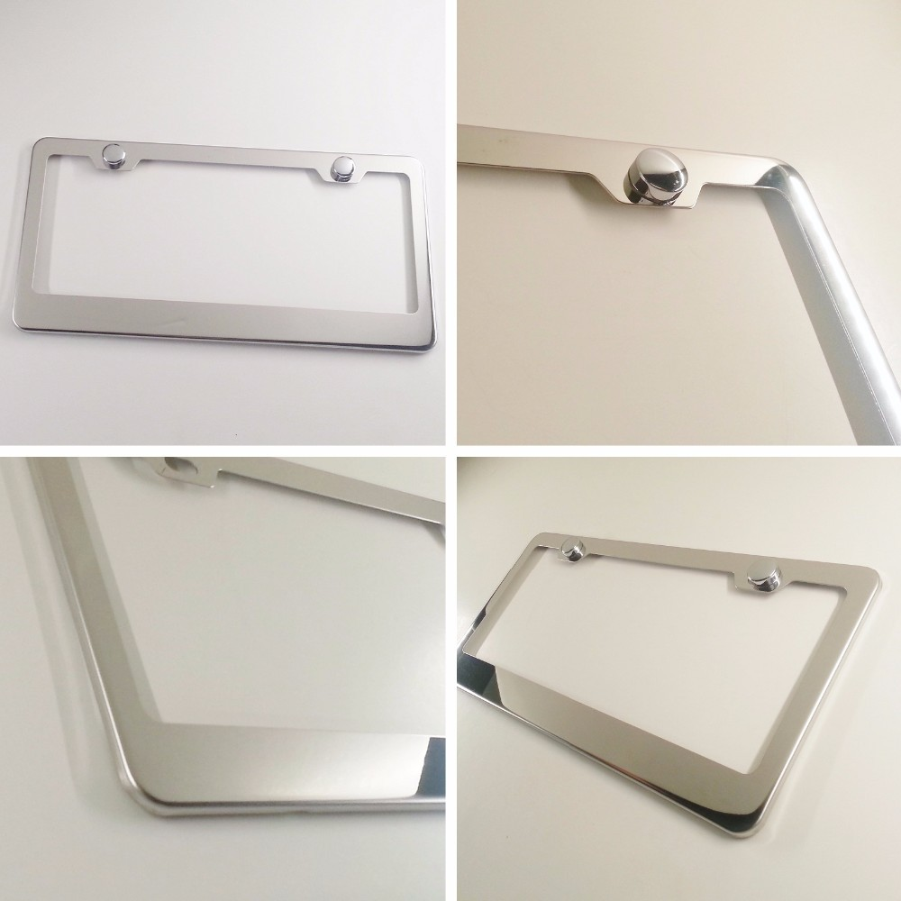 Polish Stainless Steel License Plate Frame Bracket Holder with plastic chrome cap