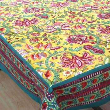 Hand Block Printed Anarkali Lime Tablecloths Jaipur Print