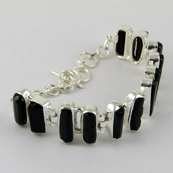 Perfect Fancy Shape Black Tourmaline 925 Sterling Silver Bracelet Indian Jewelry Exclusive