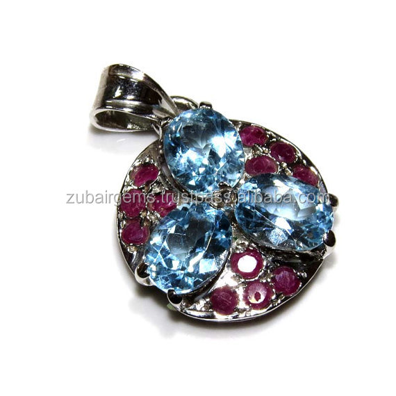 925 Sterling Silver Stylish Pendant with Blue Topaz B.T. and Ruby on Wholesale price.