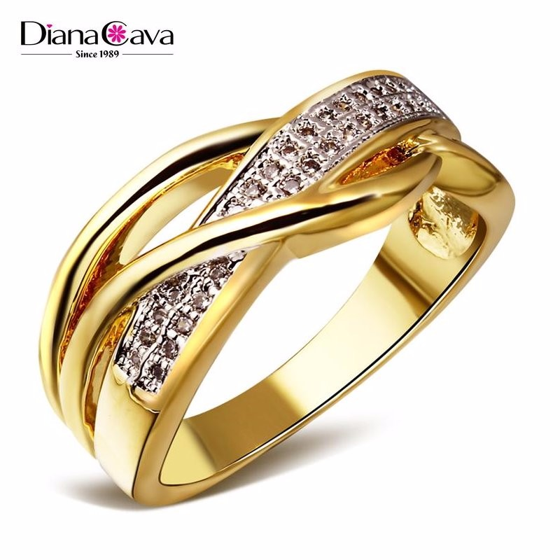 New Product 2017 Cubic Zirconia Hong Kong Factory 2 Tone Plated Wedding Band Ring