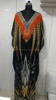 Viscos crape long digital printed crystal work kaftan in party wear style