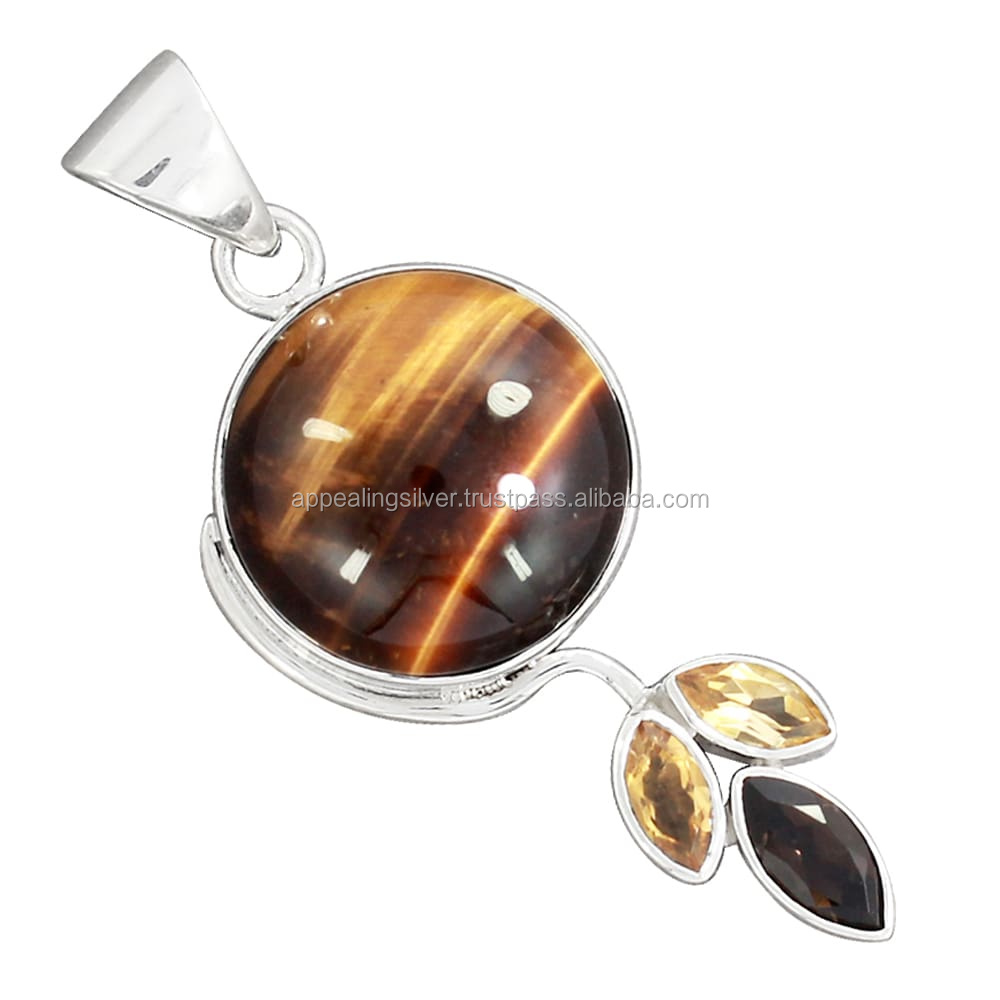 Tiger eye and citrine gemstone sterling silver jewelry pedant