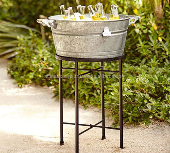 Big Galvanized Metal Tub Planters Large Oval Metal Flower Bucket