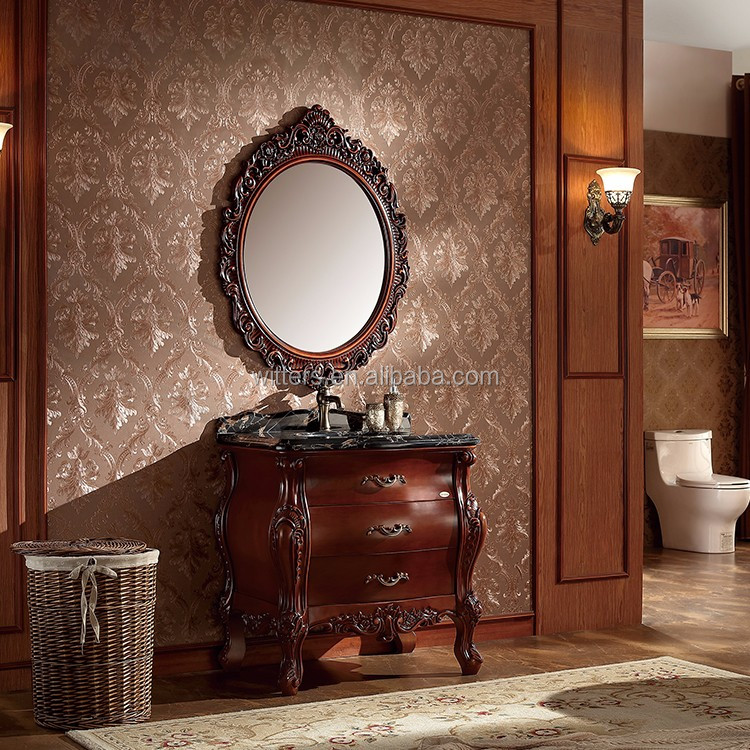 WTS16088 31 Inch French Simple Handcrafted Walnut Color Single Sinks  Bathroom Vanity Cabinets