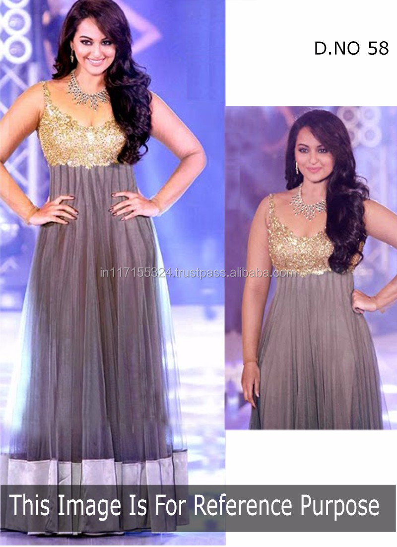 90e88bf99e Exclusive latest designer sonakshi sinha style gray net anarkali dress-bridal  dress online suits