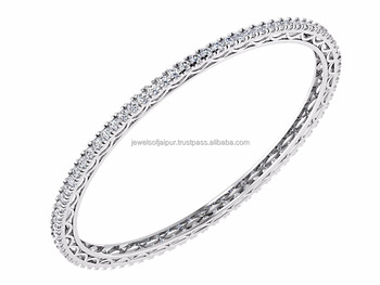 Elegant Beautiful Designer Single Line Diamond Bangle 14k White Gold