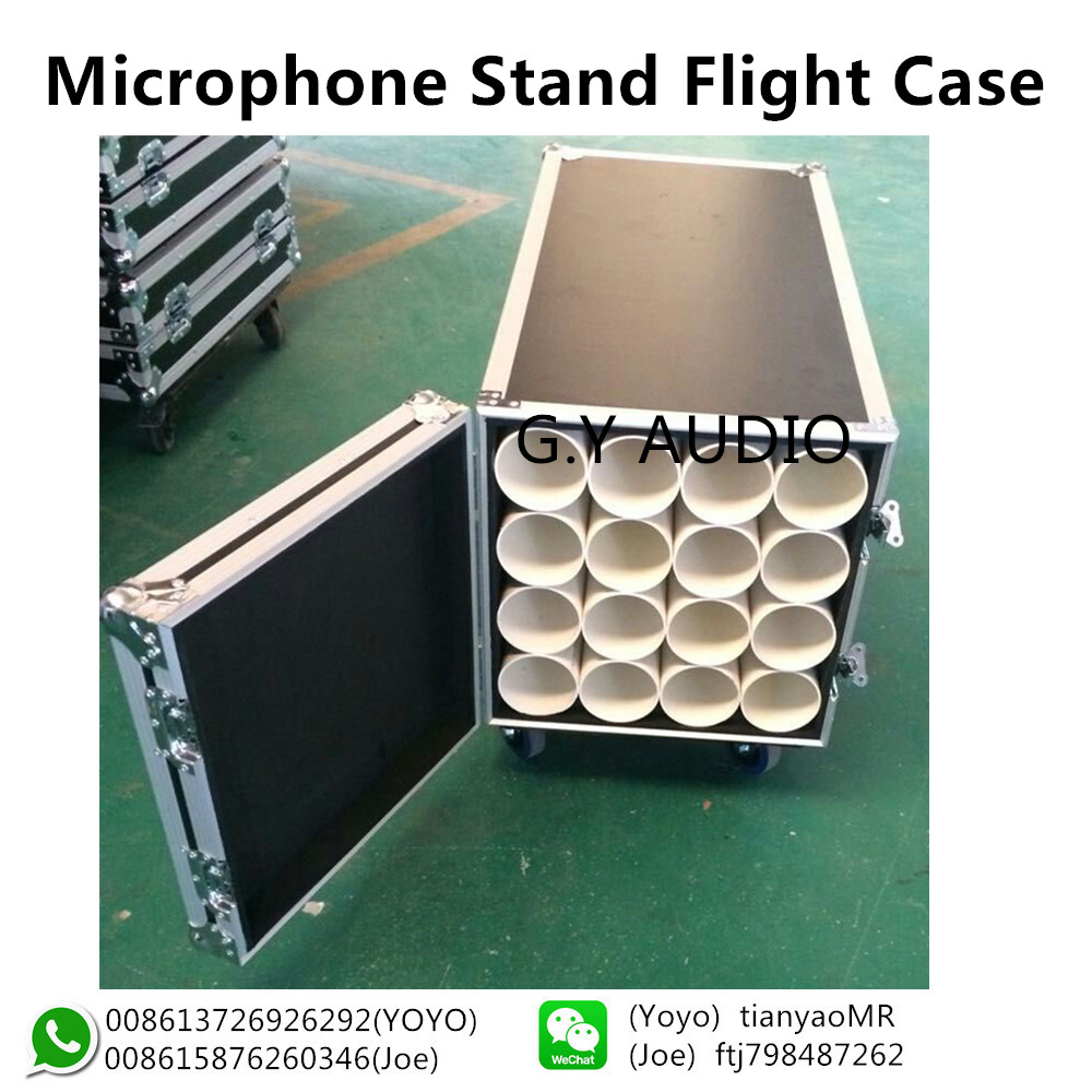 microphone stand case,Customized wheeles 16 mic stand road case for sale