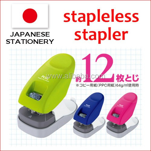Compact staple less stapler for plastic paper fastener also available in various colors