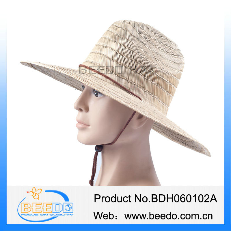effe1497a3d Mens large brim fancy straw boater hat with 3CM black grosgrain ribbon