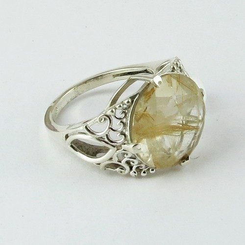 Big Dreams !! Golden Rutile 925 Sterling Silver Ring, Gemstone Silver Jewellery, Fine Silver Jewellery