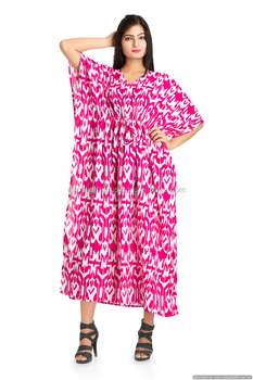 Pink Ikat Kaftan Indian Long Maxi Dress Throw Boho Plus Size Long ...
