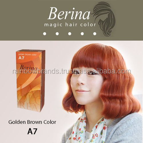 BERINA Permanent Hair Dye Color Fashion Color Cream A7 Golden Brown Color Unisex