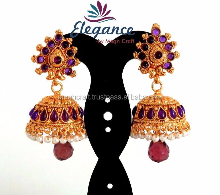 Indian Handmade Natural Pearl Jhumka Earrings South Design Diamond Earring Whole One Gram Gold Fashionable