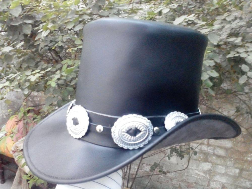GENUINE BLACK LEATHER ROCK GIG GUNS N ROSES SLASH STYLE MENS TOP HAT HEAVY  METAL 1cfacdb1d753