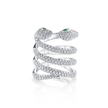 18 Carat White Gold Emerald Diamond Double Snake Ring with Green Eyes Wholesale Gold Diamond Jewelry Manufacturer