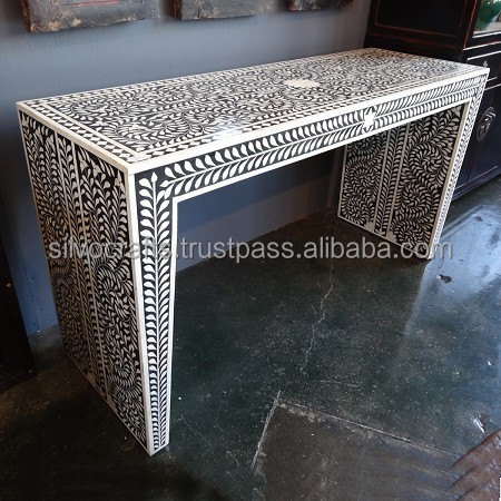 4883d1274dd1f Indian   Moroccan Style Camel Bone Inlay Console   Laptop Table furniture ( Bone   Mother of Pearl Inlay Furniture from India)