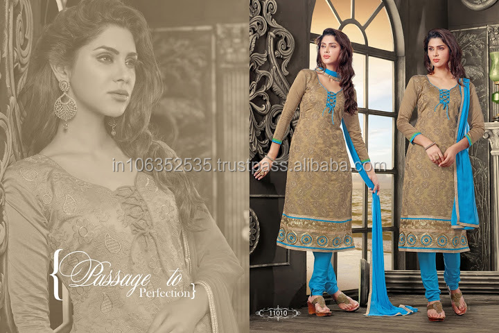 Embroidered Brown Cotton Churidar Suit